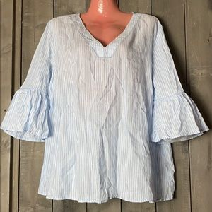 Old Navy Baby Blue Striped Top Sz Large